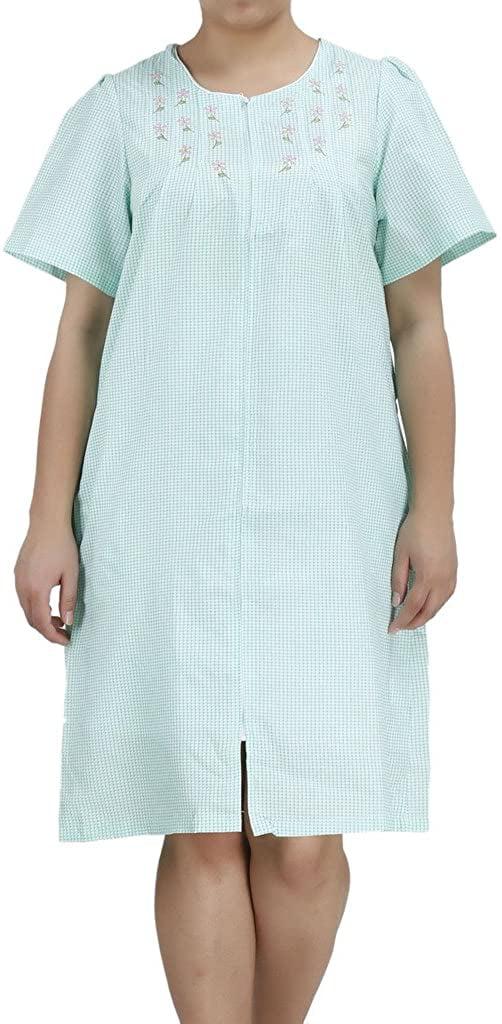 women s duster4 short sleeve zip up cotton rich house dress