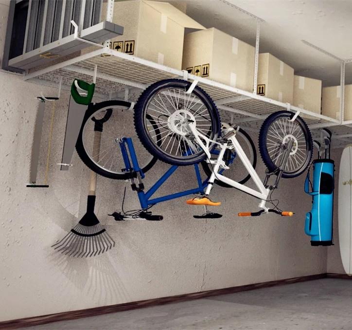 fleximounts 4x8 heavy duty overhead garage adjustable ceiling storage rack 96 length x 48 width x 40 height white