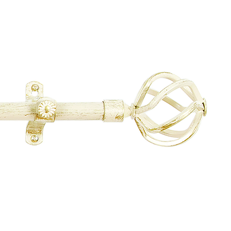 window decorative rods white black gold adjustable telescopic curtain rod with all metal birdcage finials