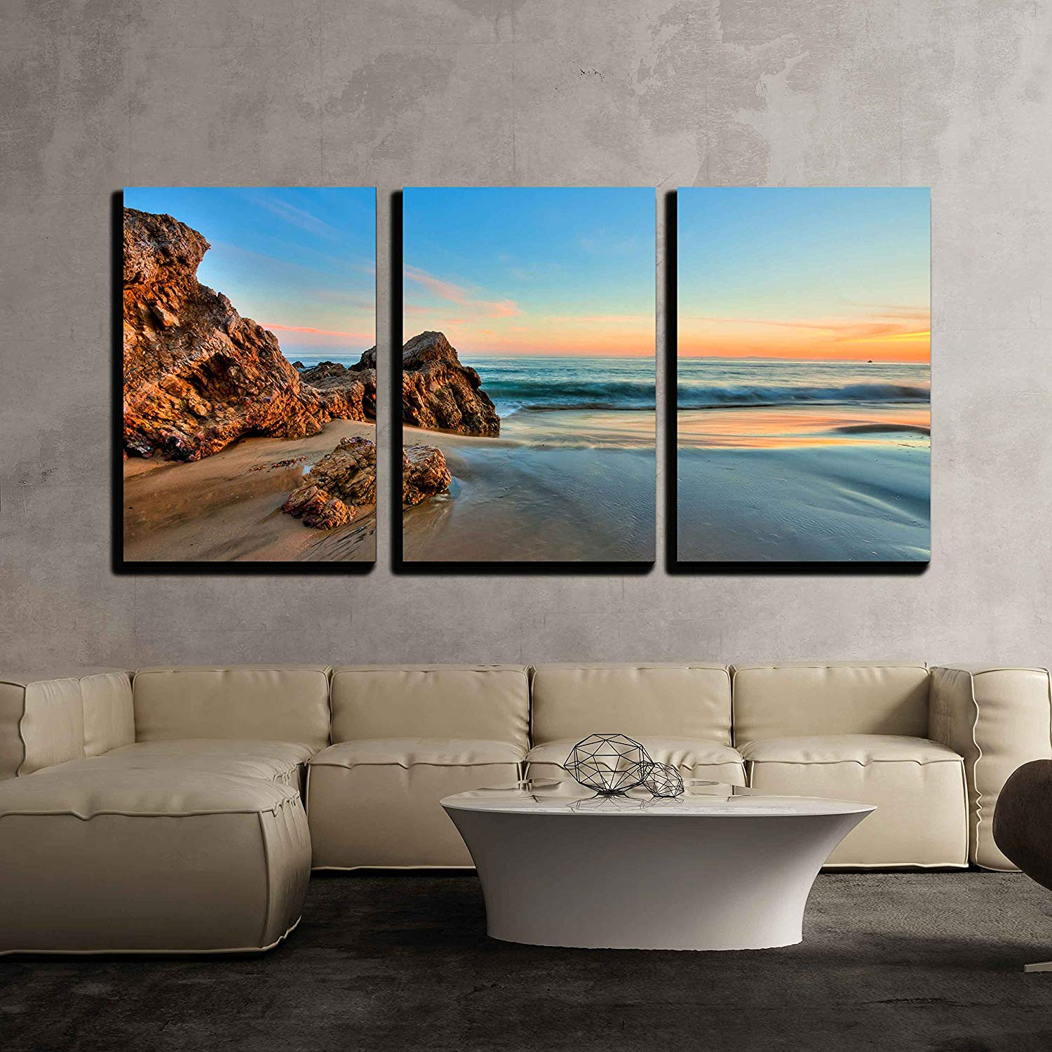 wall26 3 piece canvas wall art sunset at california beach modern home decor stretched and framed ready to hang 24 x36 x3 panels walmart com