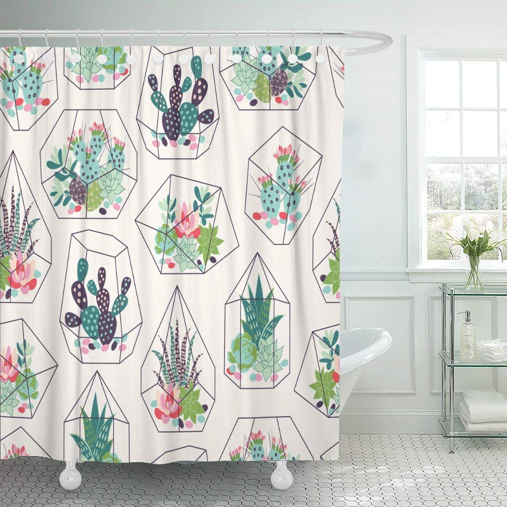 pknmt cactus succulents and cactuses inky in glass terrariums tropical shower curtain 60x72 inches