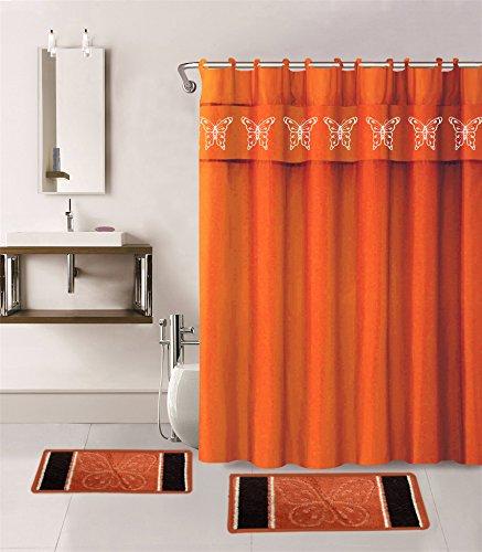 fabric shower curtains orange