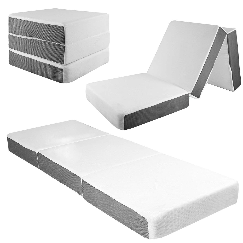 Samay 6 Inch Tri Folding Foam Mattress Includes Waterproof Mattress Protector And Washable Cover Walmart Com Walmart Com