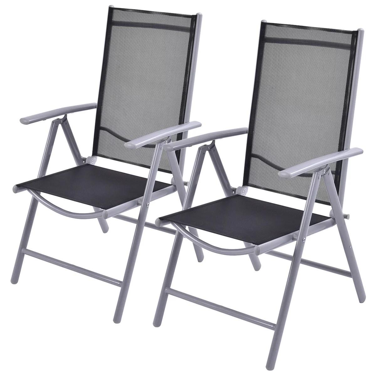 Costway Set Of 2 Patio Folding Chairs Adjustable Reclining Indoor Outdoor Garden Pool Walmart Com Walmart Com