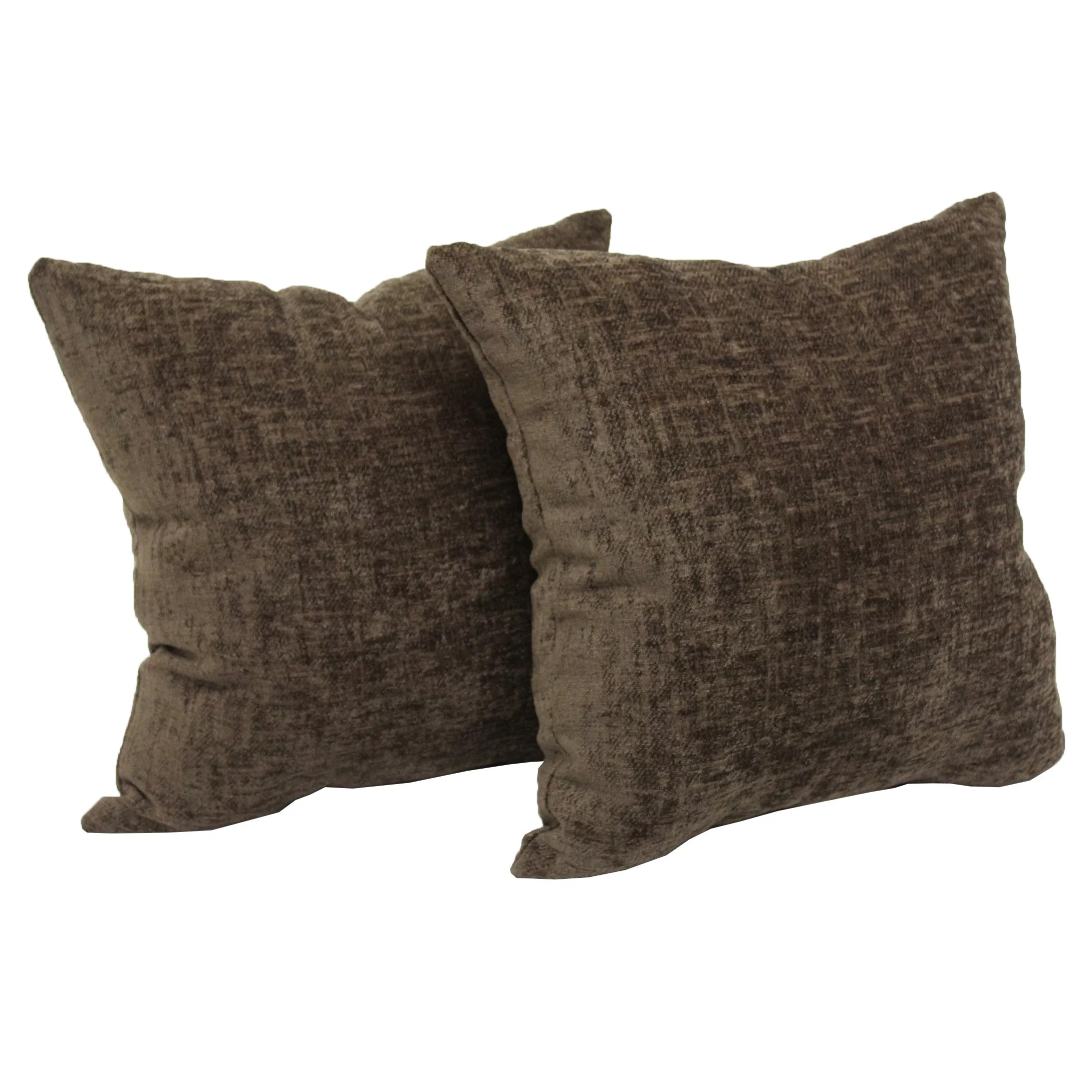 mainstays chenille decorative square throw pillow 18 x 18 brown 2 pack