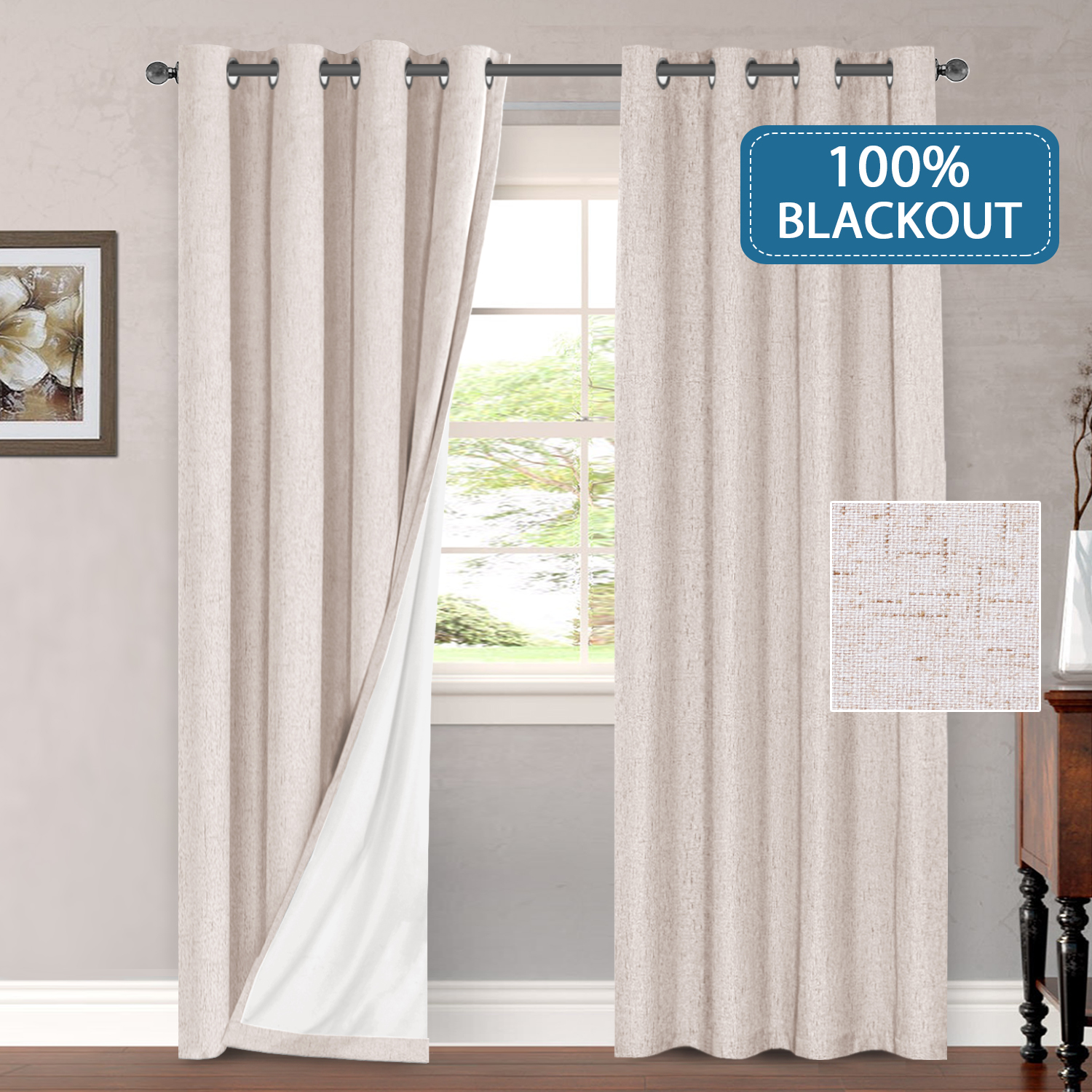 primitive linen look 100 blackout curtains waterproof burlap fabric curtains with white thermal insulated liner grommet top curtains for living