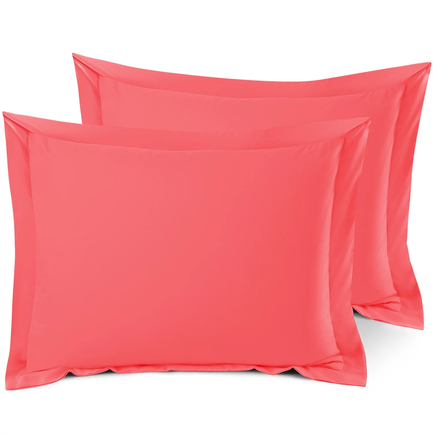 set of 2 standard 20 x26 size pillow shams coral pink hotel luxury soft double brushed microfiber hypoallergenic bed pillow cases cover