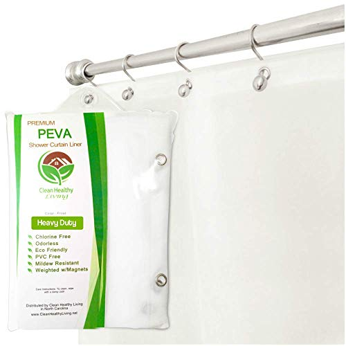 wamsutta 70 inch x 72 inch fabric shower curtain liner with suction cups white