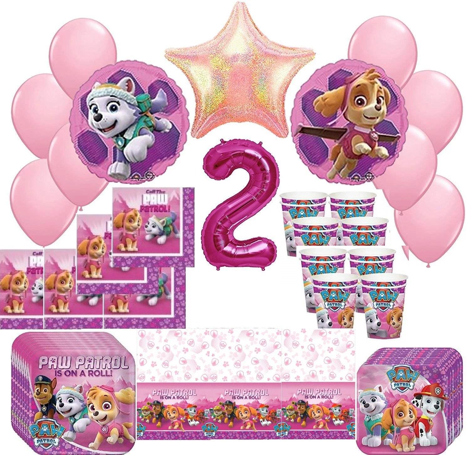 Girl Pups Paw Patrol Skye Amp Everest 2nd Birthday Party Pack 52pc Walmart Com Walmart Com