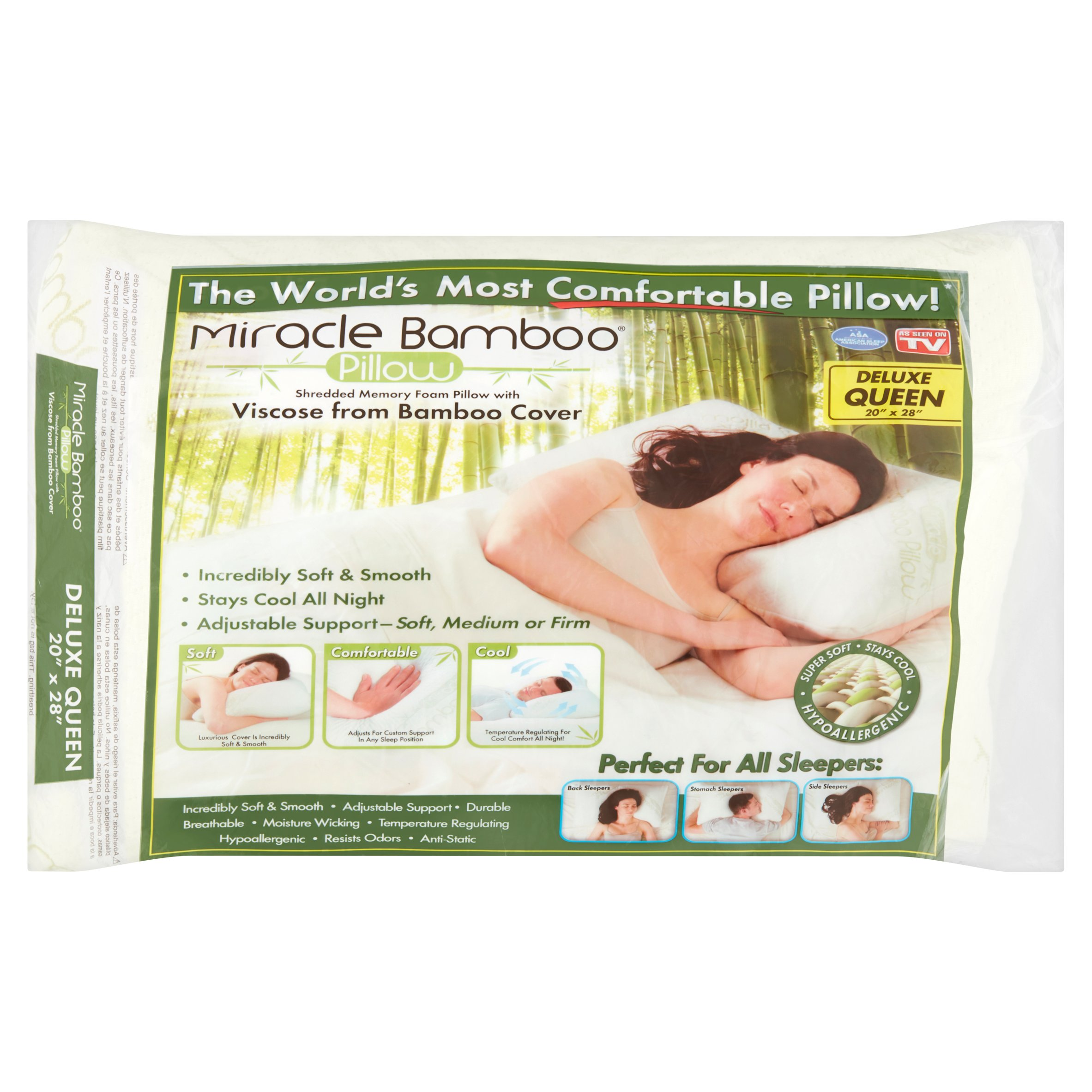 miracle bamboo pillow queen size memory foam pillow with bamboo viscose cover as seen on tv