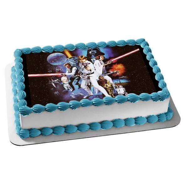 Star Wars Classic Luke Skywalker Chewbaca Princess Leia Darth Vader Light Sabers Edible Cake Topper Image Walmart Com Walmart Com