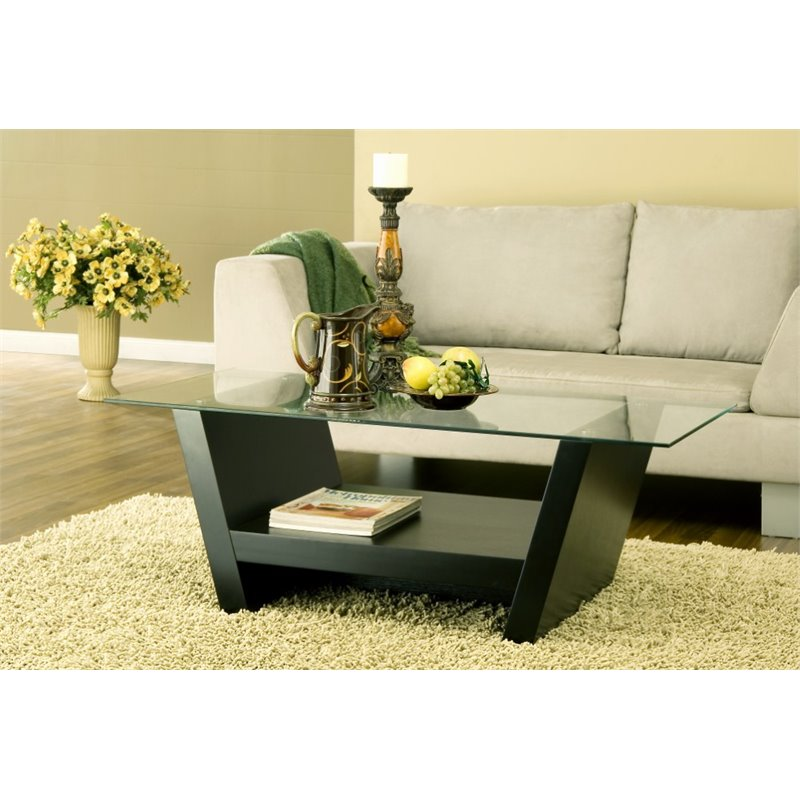furniture of america watson modern black wood coffee table with glass top walmart com