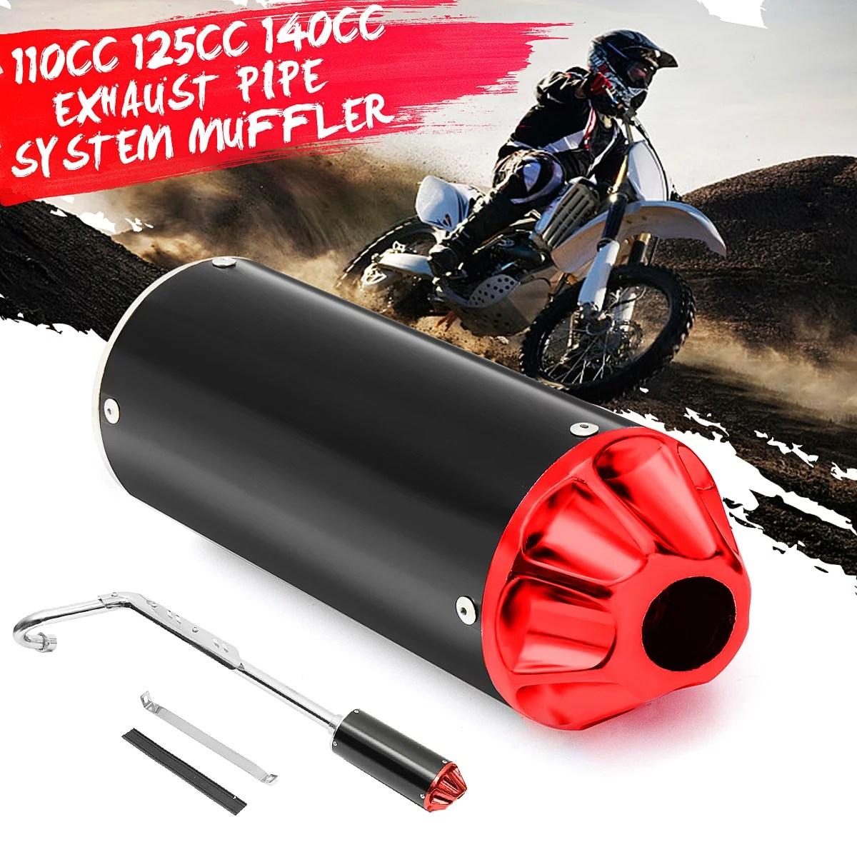 performance cnc exhaust pipe system muffler kit 110cc 125cc 140cc pit dirt bike walmart com