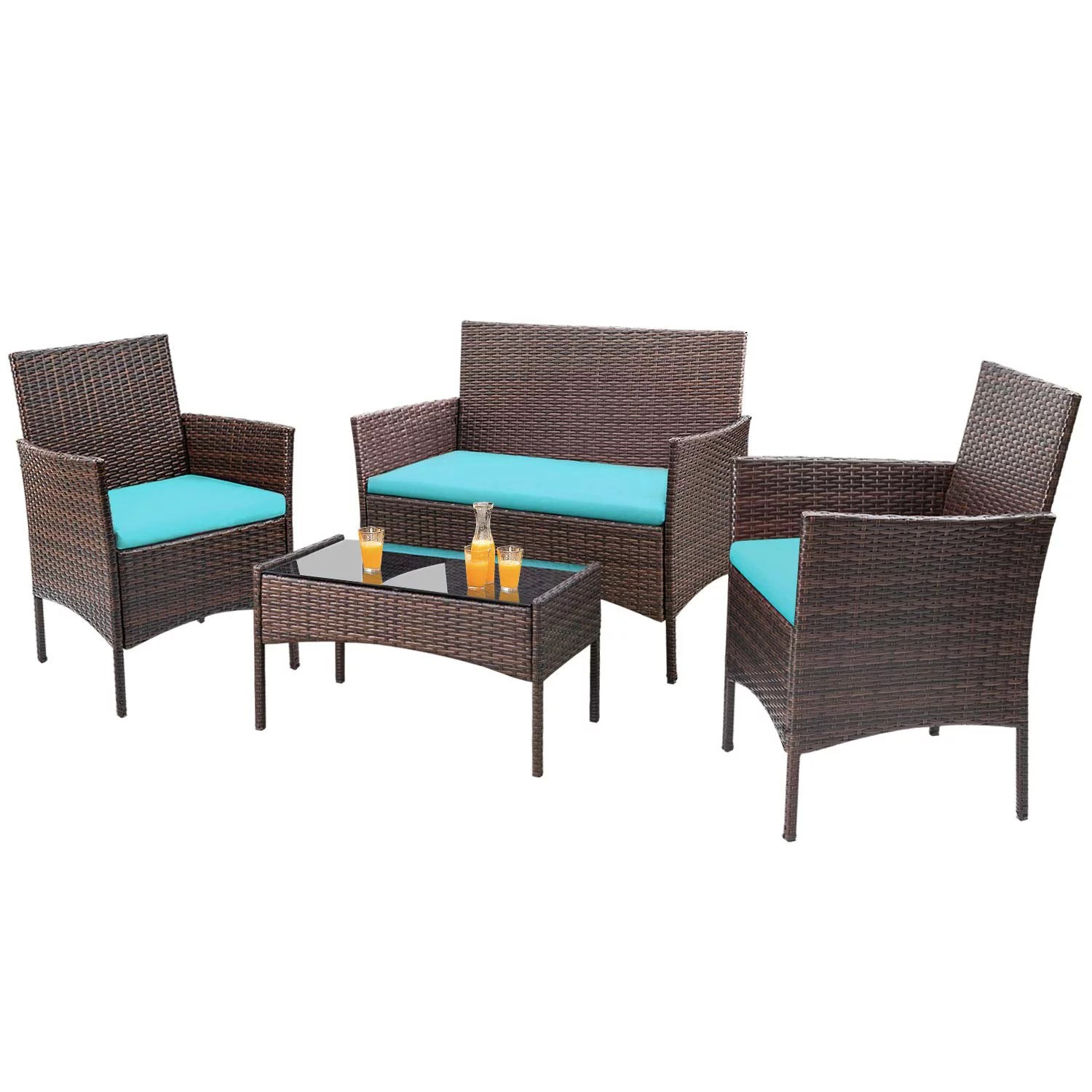 walnew 4 pcs outdoor patio furniture brown pe rattan wicker table and chairs set bar balcony backyard garden porch sets with cushioned tempered glass