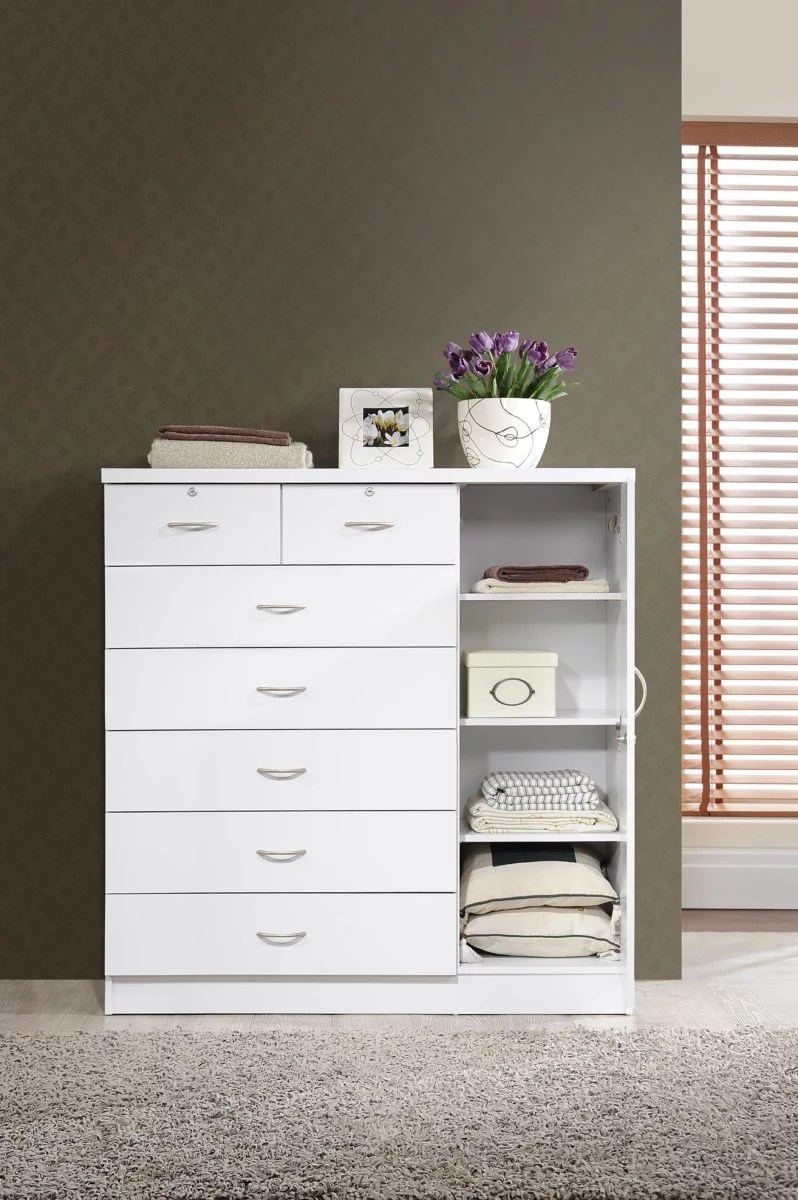 hodedah 7 drawer dresser with side cabinet equipped with 3 shelves white