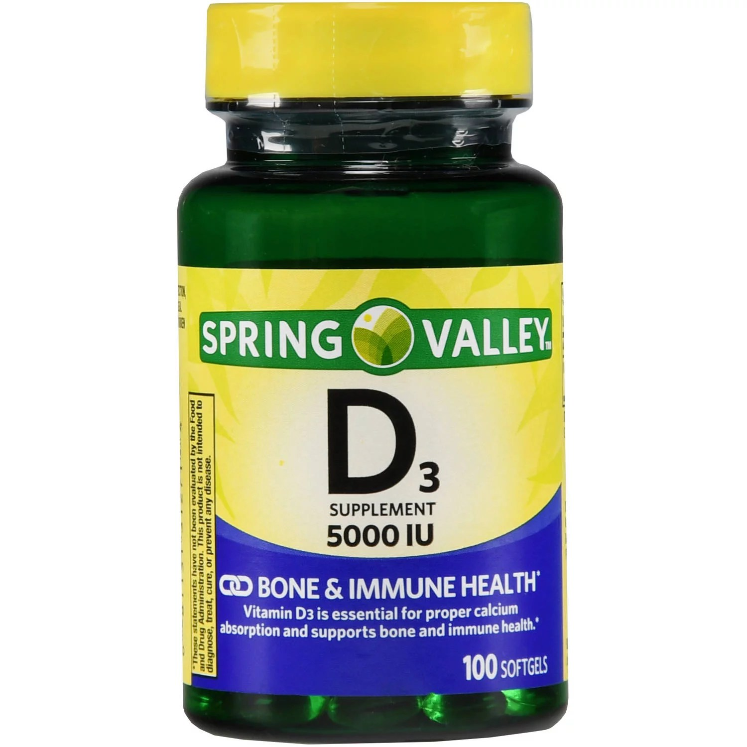 Spring Valley Vitamin D3 Softgels, 5000IU, 100ct