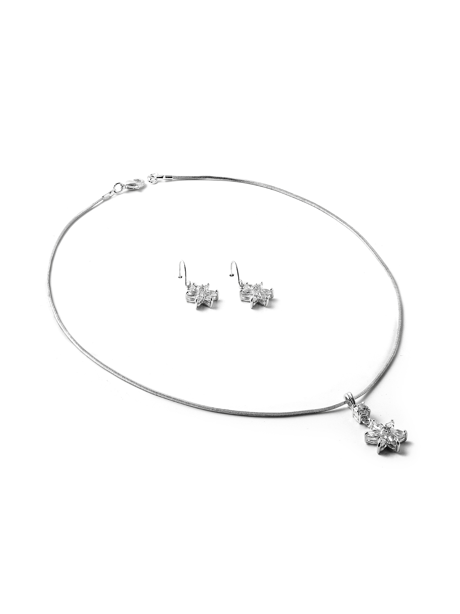 silver twist chain with dangle crystal cubic zirconia 6 point flower necklace and matching wire earrings