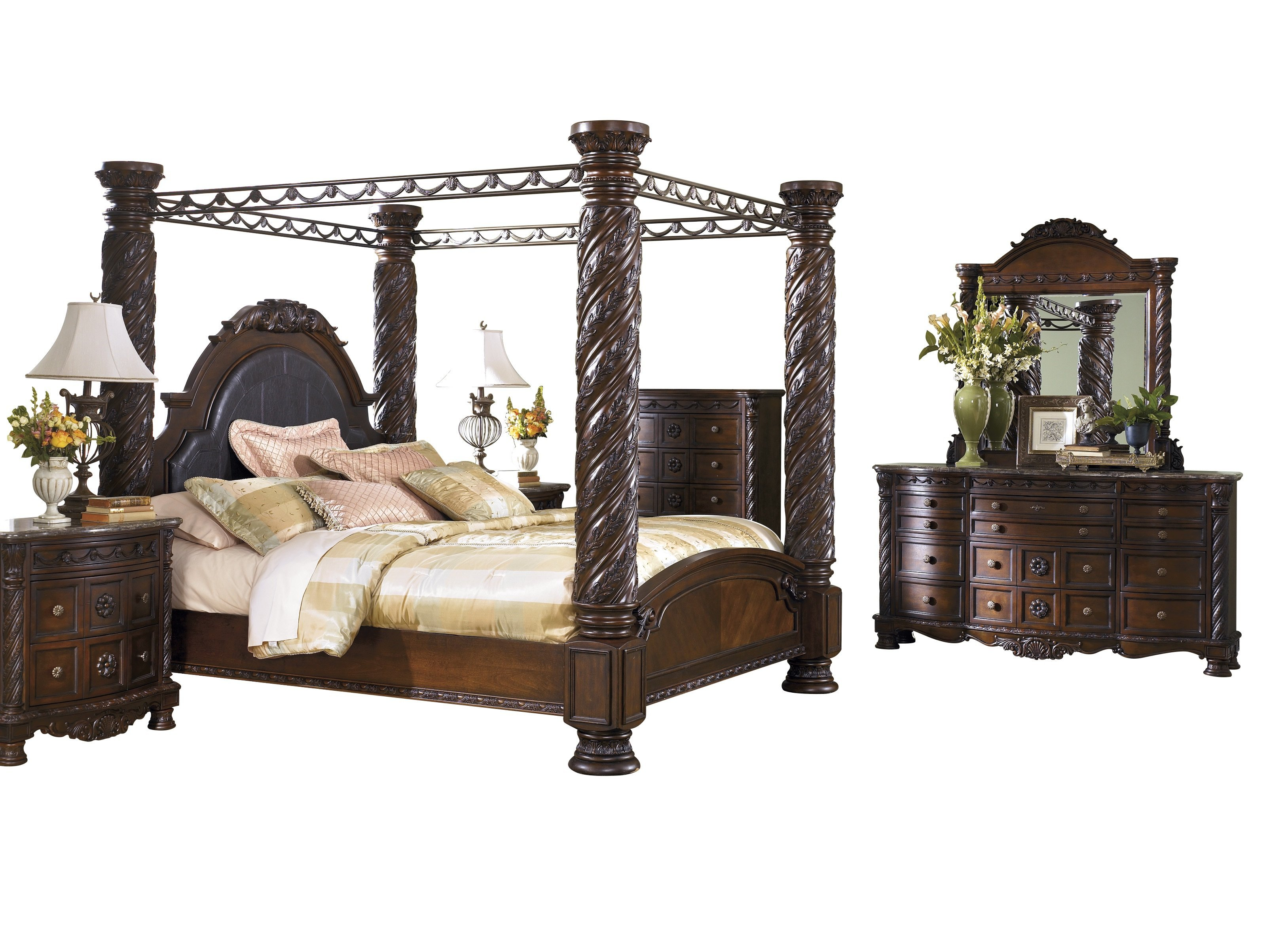 ashley furniture north shore 6 pc bedroom set cal king poster canopy bed dresser mirror 2 nightstand chest dark brown walmart com