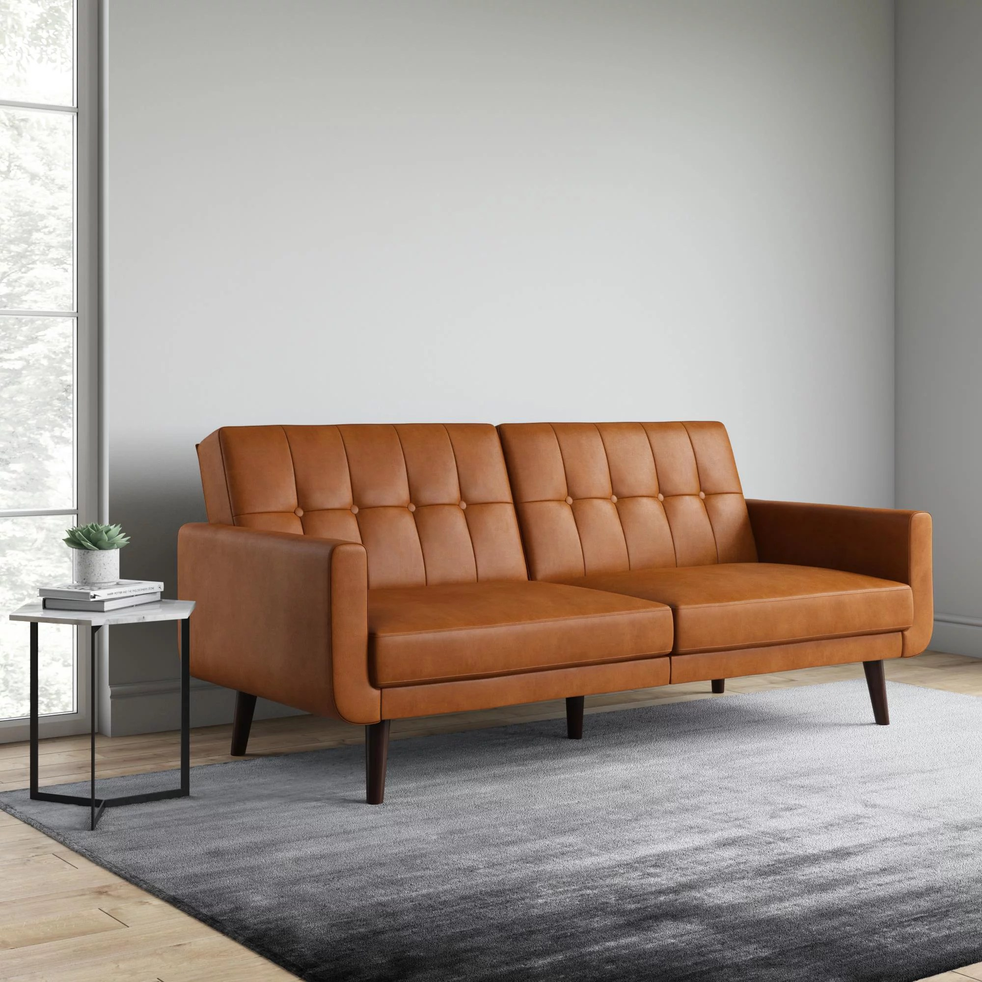 better homes gardens nola modern futon camel faux leather
