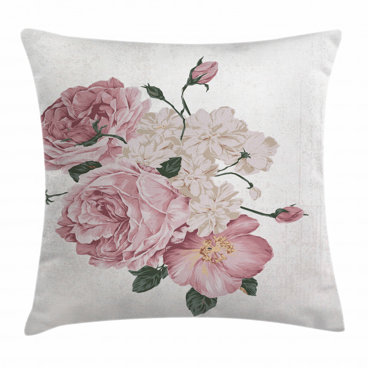 rose throw pillow cushion cover old vintage roses corsage on grunge background antique romantic springtime art decorative square accent pillow case