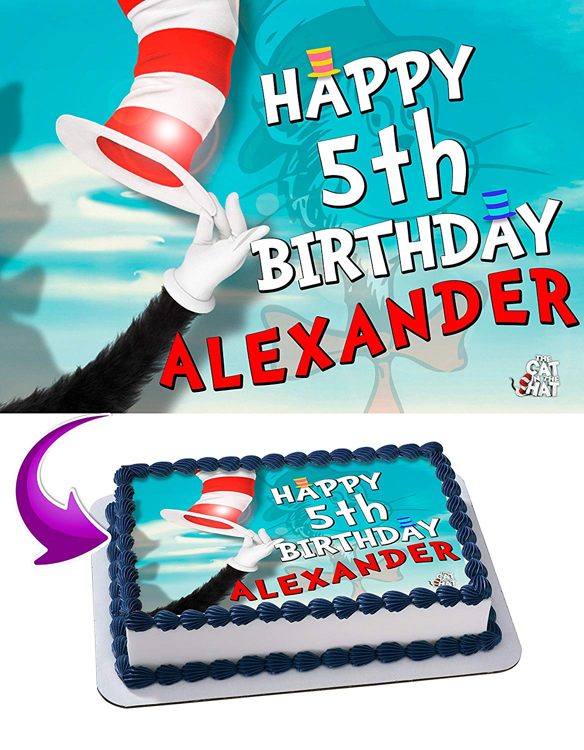 The Cat In The Hat Edible Cake Image Topper Personalized Birthday Party 1 4 Sheet 8 X10 5 Walmart Com Walmart Com