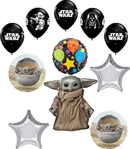 Star Wars Mandalorian The Child Birthday Party Supplies Baby Yoda Balloon Bouquet Decorations Walmart Com Walmart Com