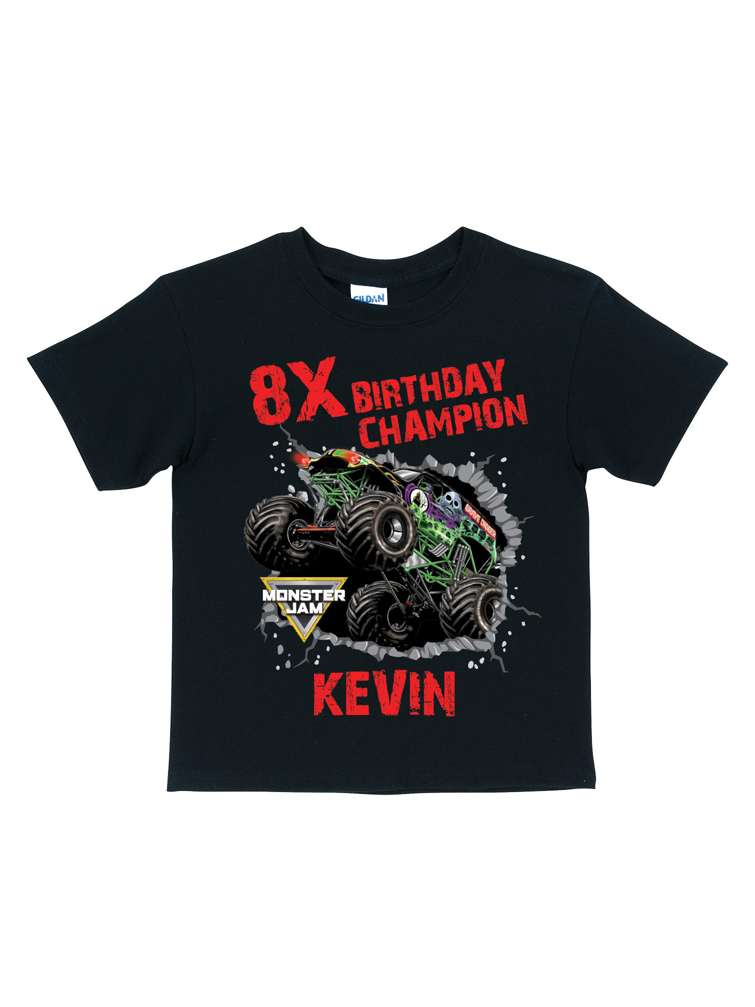 Monster Jam Personalized Monster Jam Black Toddler T Shirt Birthday Champion Walmart Com Walmart Com