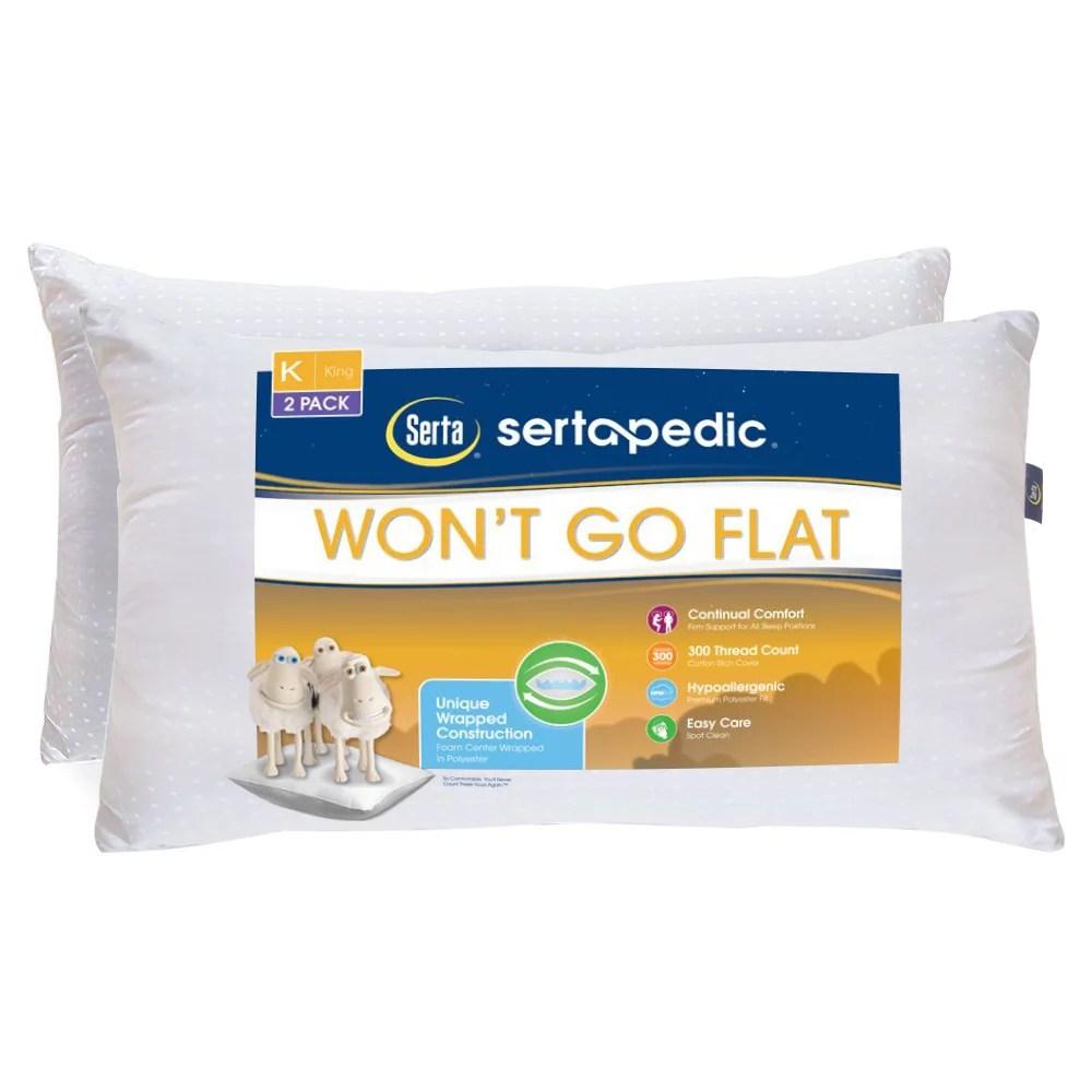 sertapedic won t go flat pillow set of 2 king size