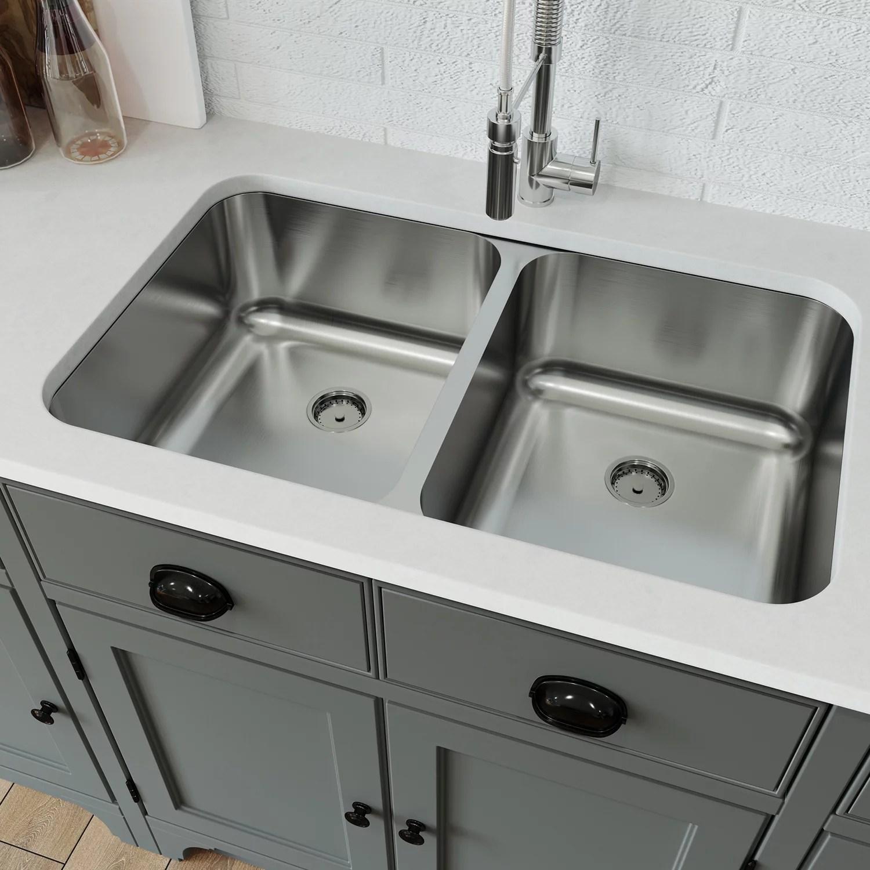 eviva taurus 34 x 18 stainless steel undermount double kitchen sink walmart com