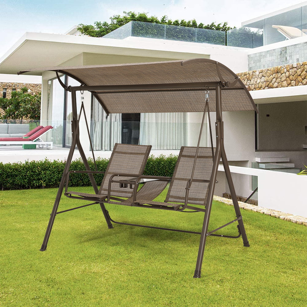 outdoor patio swing with canopy 2 person outdoor patio swing with weather resistant metal frame and cup holder outdoor patio swings for adults