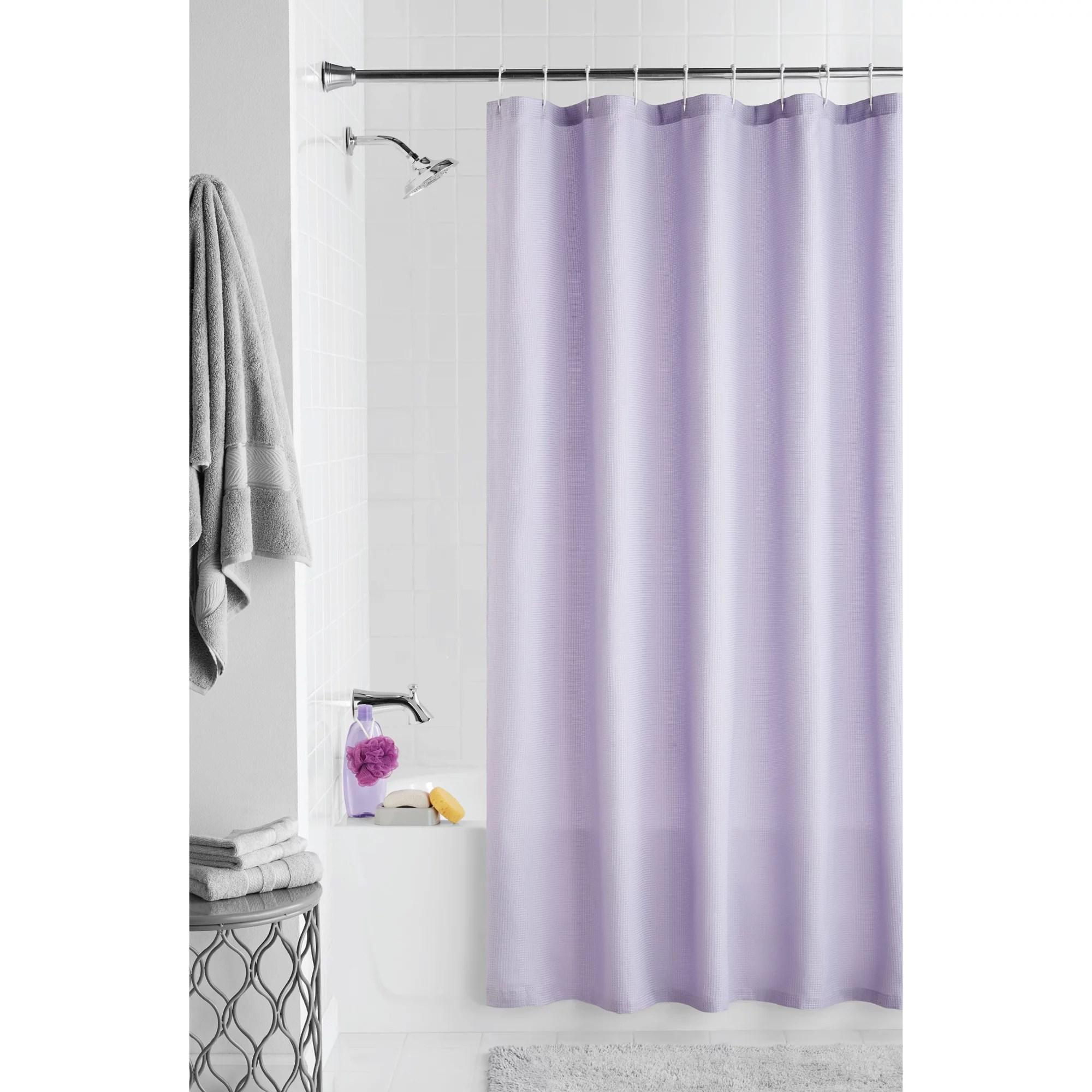 mainstays waffle textured fabric shower curtain