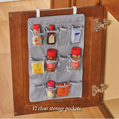 hanging over the door spice organizer with 12 clear pockets