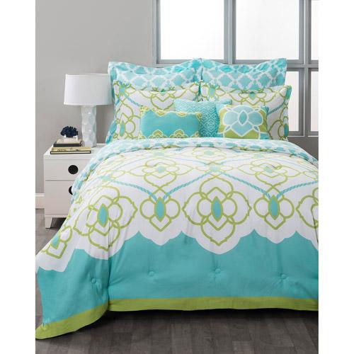 Style Nest Sahara Aqua Bed In A Bag 8 Piece Bedding Set