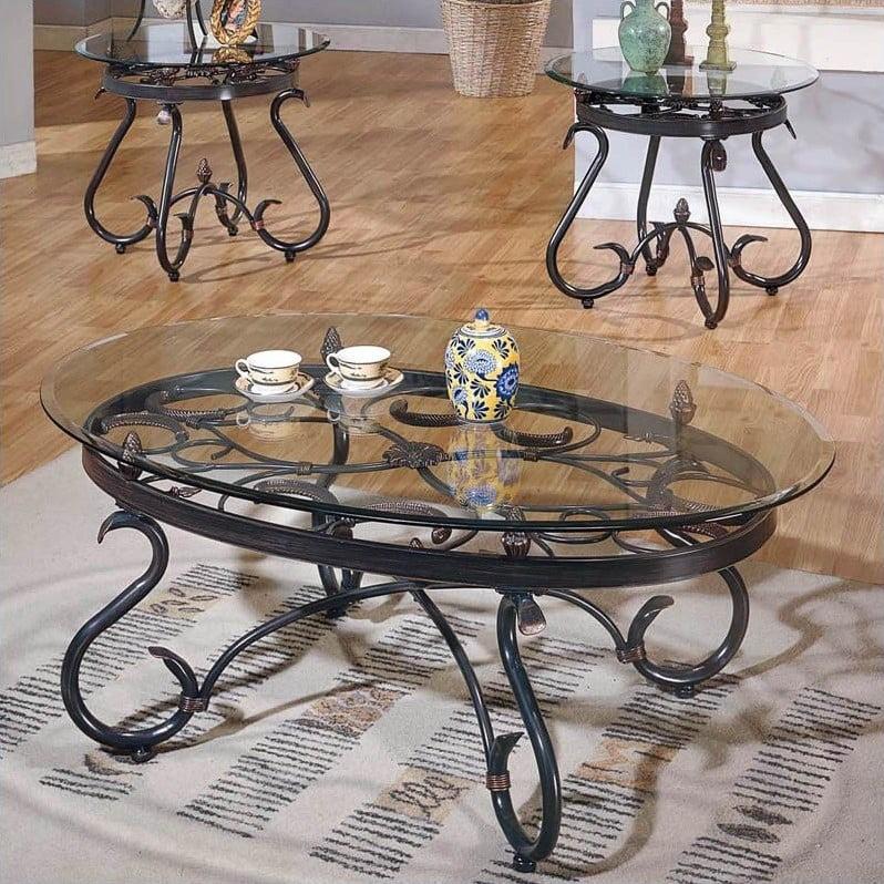 steve silver company lola 3 piece coffee table set in dark brown walmart com