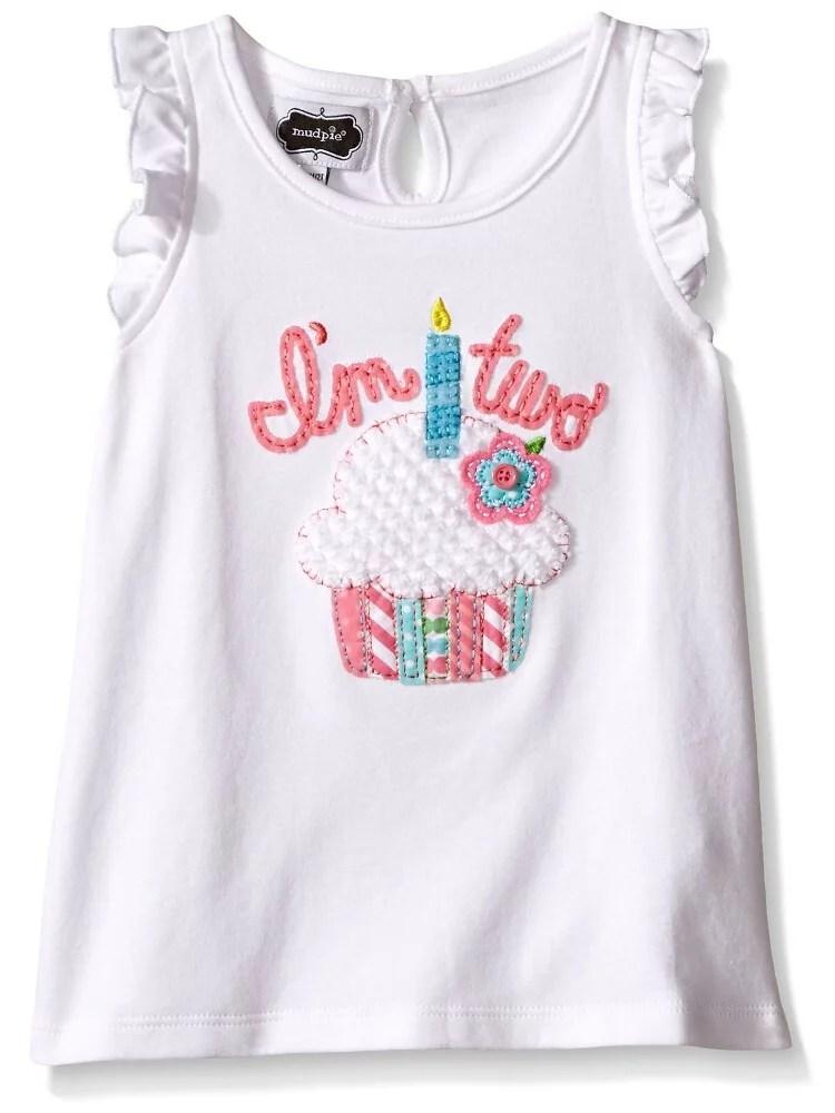 Mud Pie Mud Pie Little Girls I M Two Cupcake Birthday Shirt Multi 2t Walmart Com Walmart Com