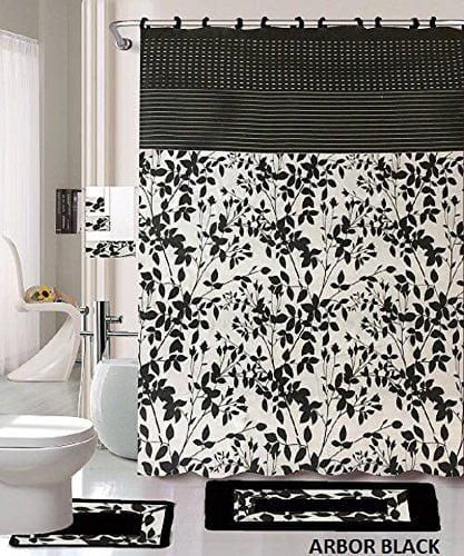 18 piece bath rug set black white beige leaf print bathroom rugs shower curtain rings and towels sets arbor black