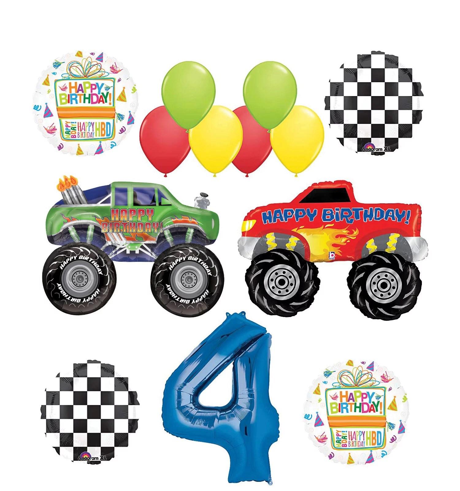 Monster Truck Party Supplies 4th Birthday Balloon Bouquet Decorations Walmart Com Walmart Com