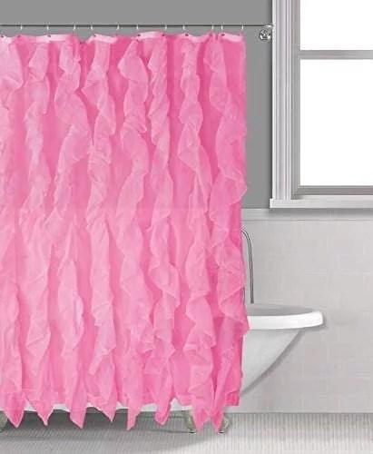 sapphire home cascade shower curtain fabric ruffle shower curtain 70 x 72 inches sheer voile vertical ruffled bathroom shower cascade 70 x72