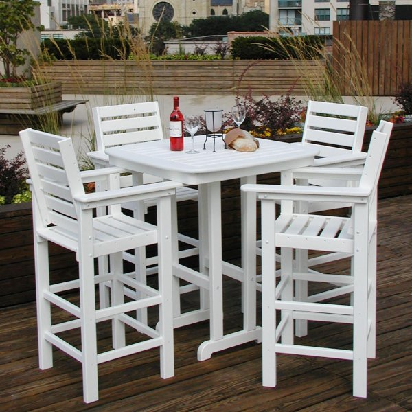 POLYWOOD reg  Captain 5 pc  Recycled Plastic Bar Height Dining Set     Recycled Plastic Bar Height Dining Set   Walmart com