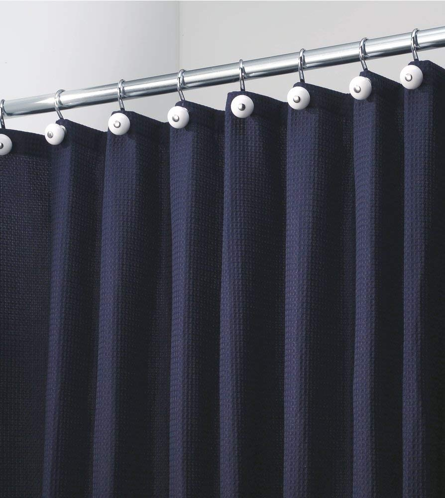 mdesign hotel style cotton polyester blend fabric shower curtain extra wide 108 x 72 navy blue