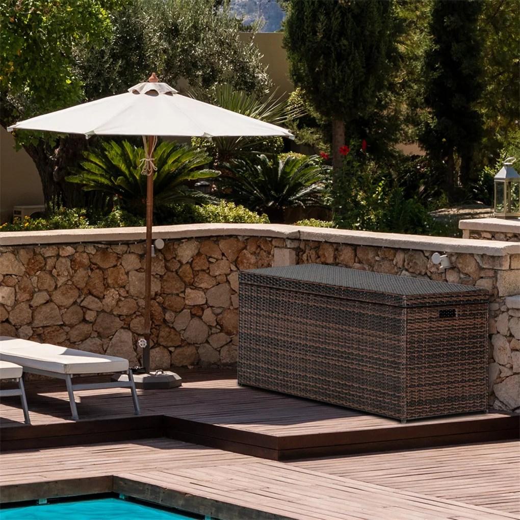 best choice 132 gallon garden wicker storage box with lid garden deck bin storage bench deck box for garden backyard pool brown