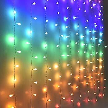 fairy lights led curtain lights color globe string lights for bedroom wall boho dorm rainbow unicorn room decor for teen girls kids wedding birthday