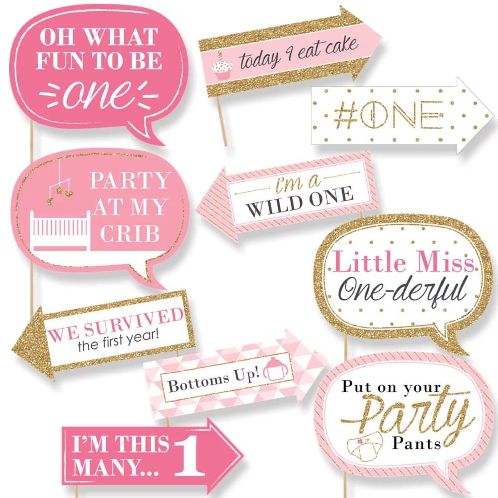 Funny Fun To Be One 1st Birthday Girl First Birthday Party Photo Booth Props Kit 10 Count Walmart Com Walmart Com