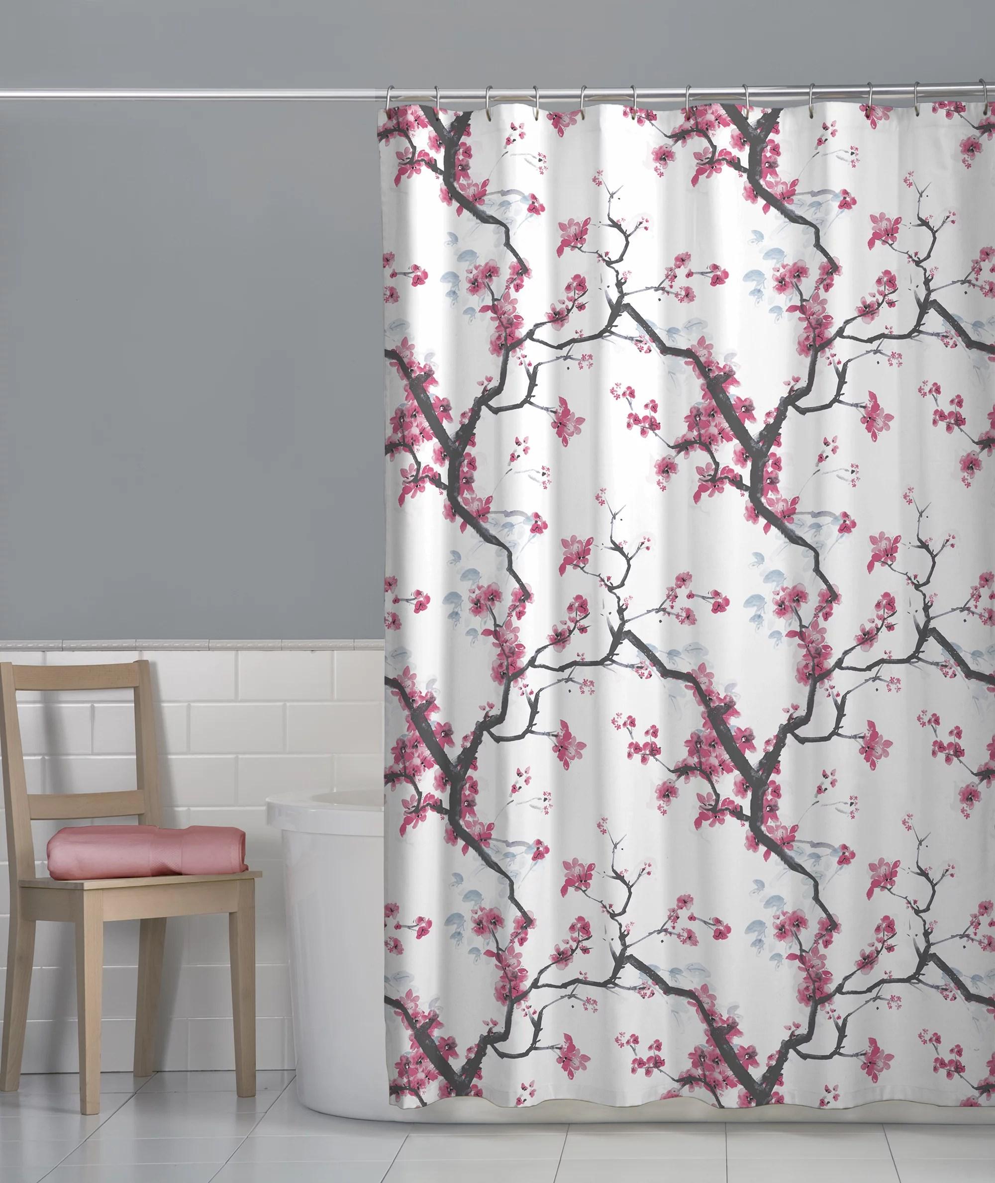 maytex cherry blossom floral fabric shower curtain pink walmart com