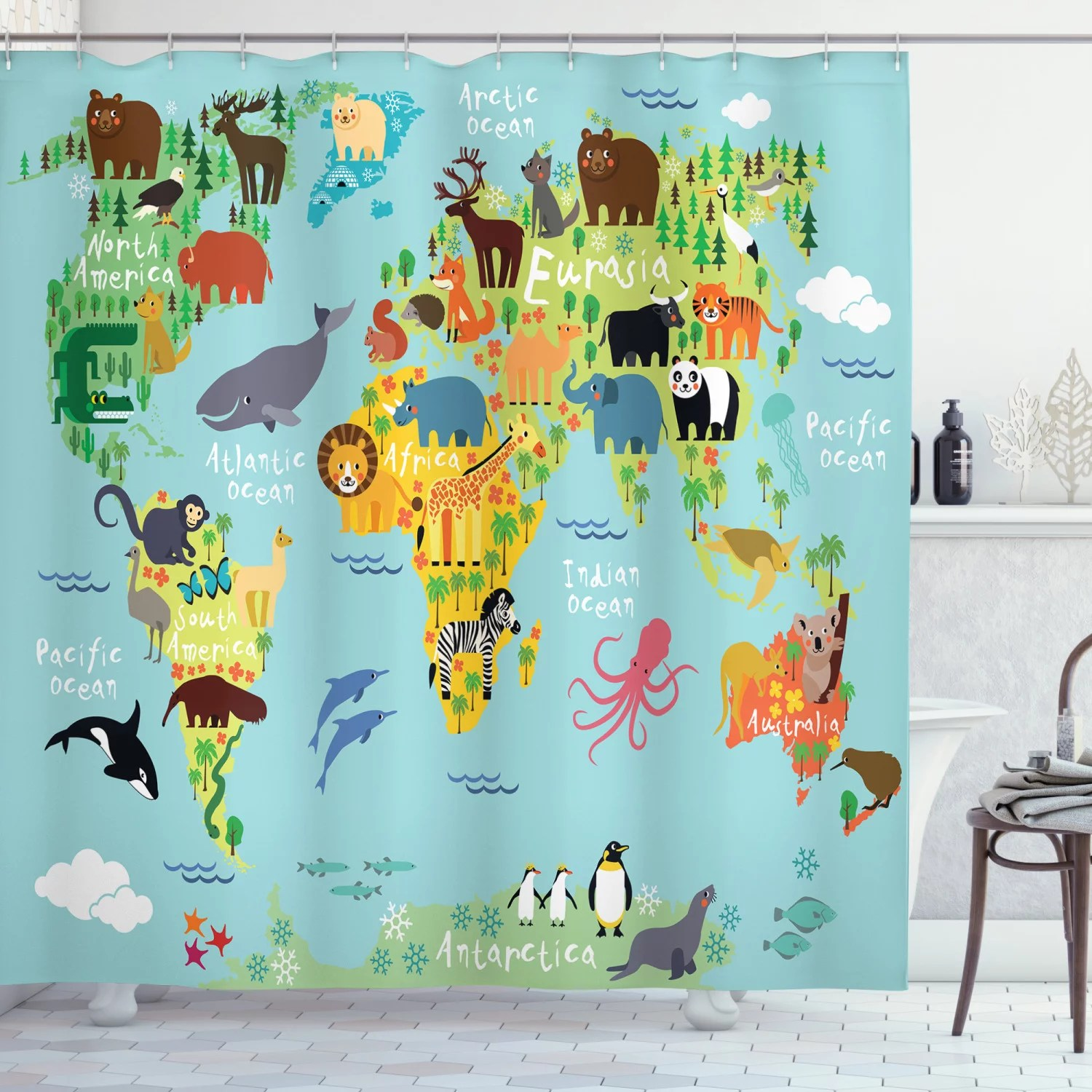 wanderlust decor shower curtain set animal map of the world for children and kids cartoon mountains forests bathroom accessories 69w x 70l inches