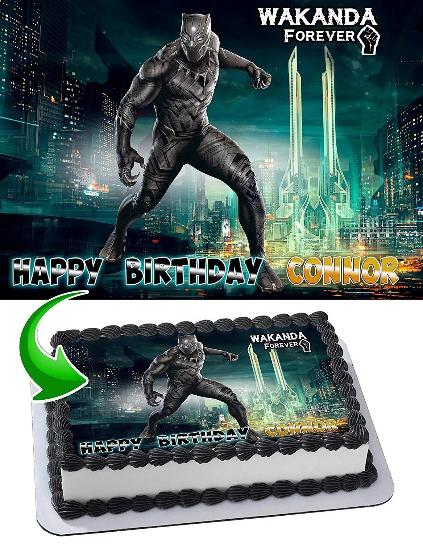 Black Panther Wakanda Forever Edible Cake Topper 11 7 X 17 5 Inches 1 2 Sheet Rectangular Walmart Com Walmart Com