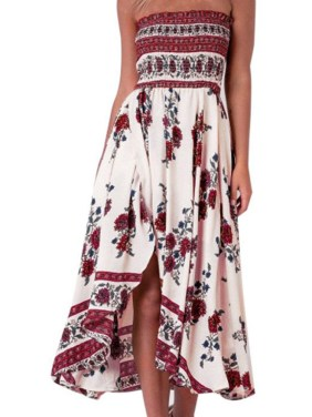 Maxi Dresses for Women, Vintage Floral Print Summer Beach Dress, Strapless ,M