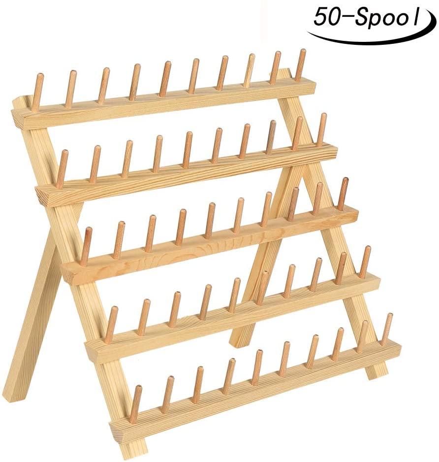 50 spool thread rack wooden thread holder sewing organizer