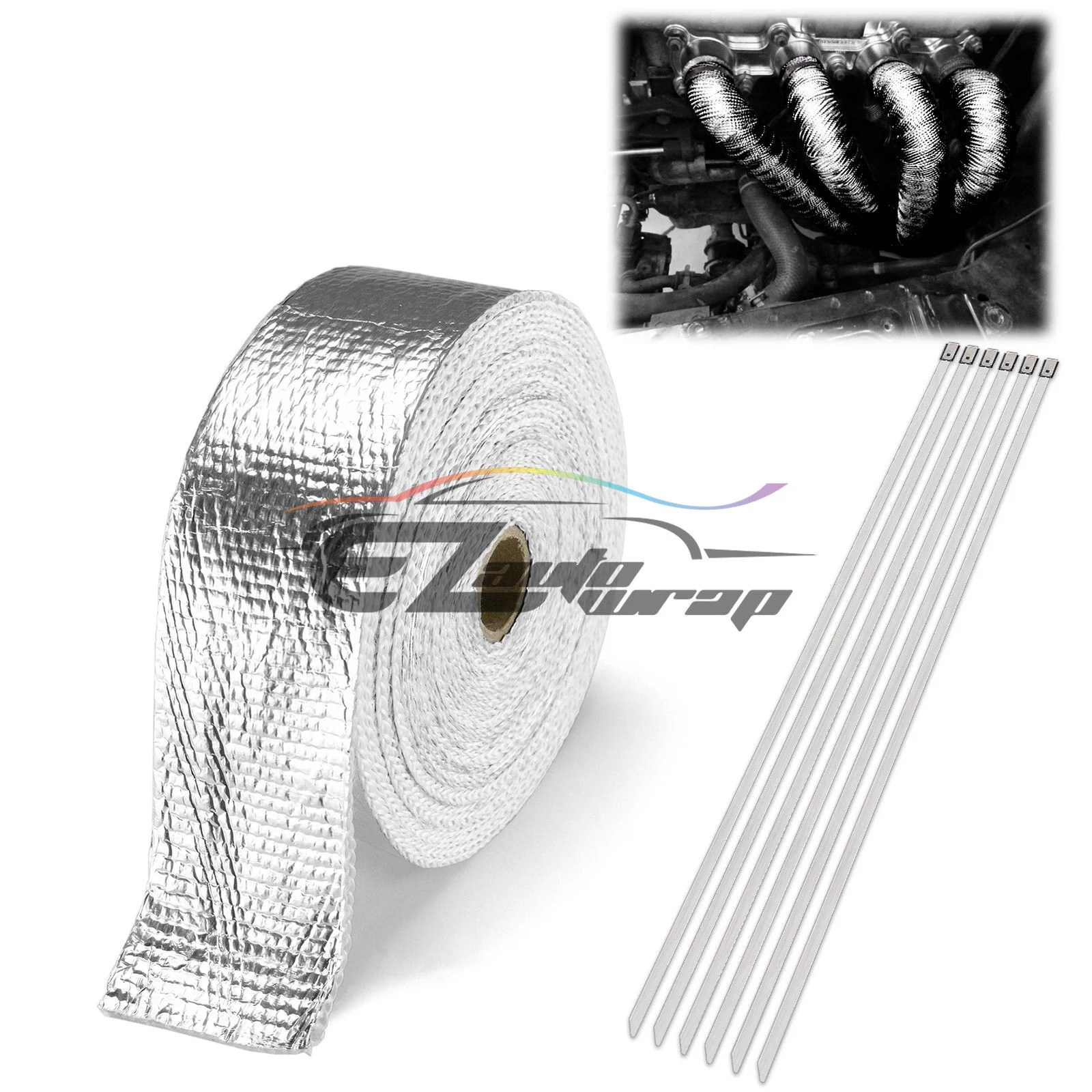 2 x 50 exhaust pipe insulation thermal heat high temperature wrap motorcycle header 6 tie