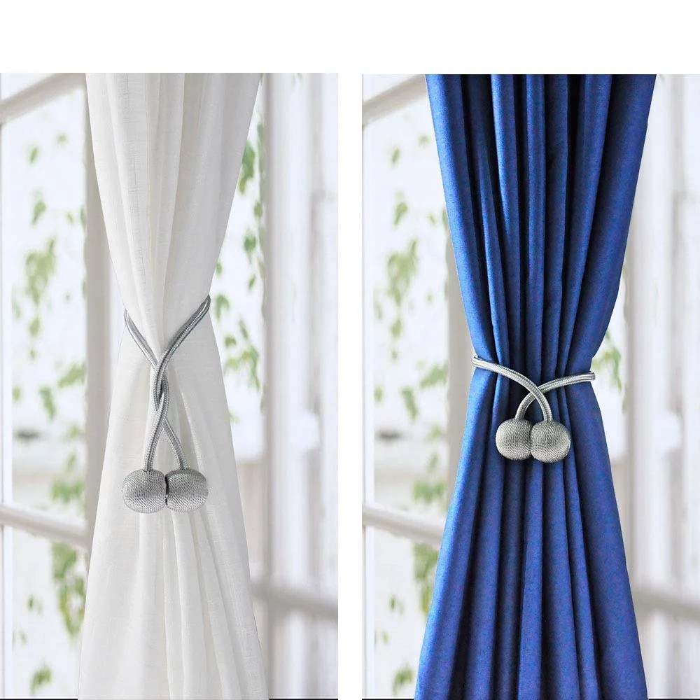 4 pack magnetic curtain tiebacks strong magnets drape window tie backs decorative weave rope for indoor outdoor home office window decor holdbacks